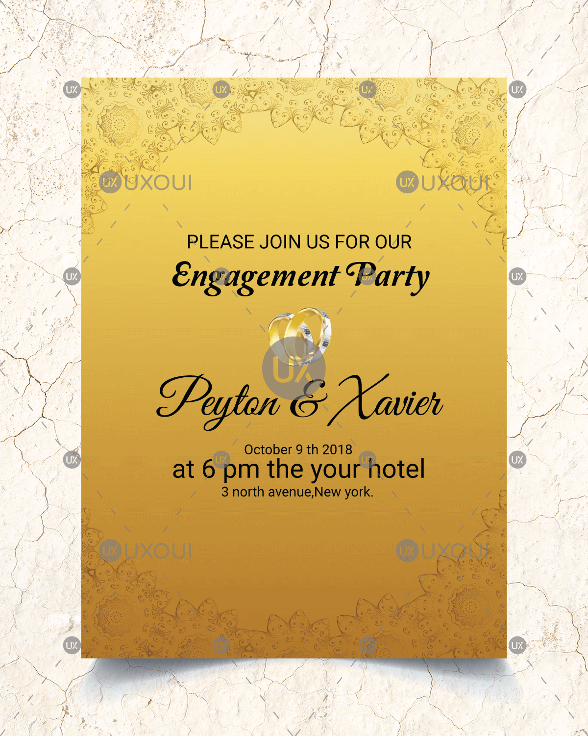 Golden Wedding Engagement Party Invitation Card Template Design Vector