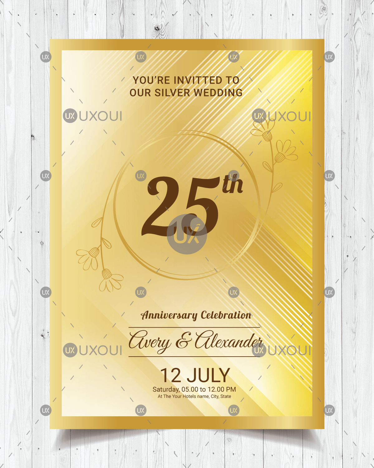 Happy wedding anniversary invitation card design with ornaments in golden  style vector | UXoUI