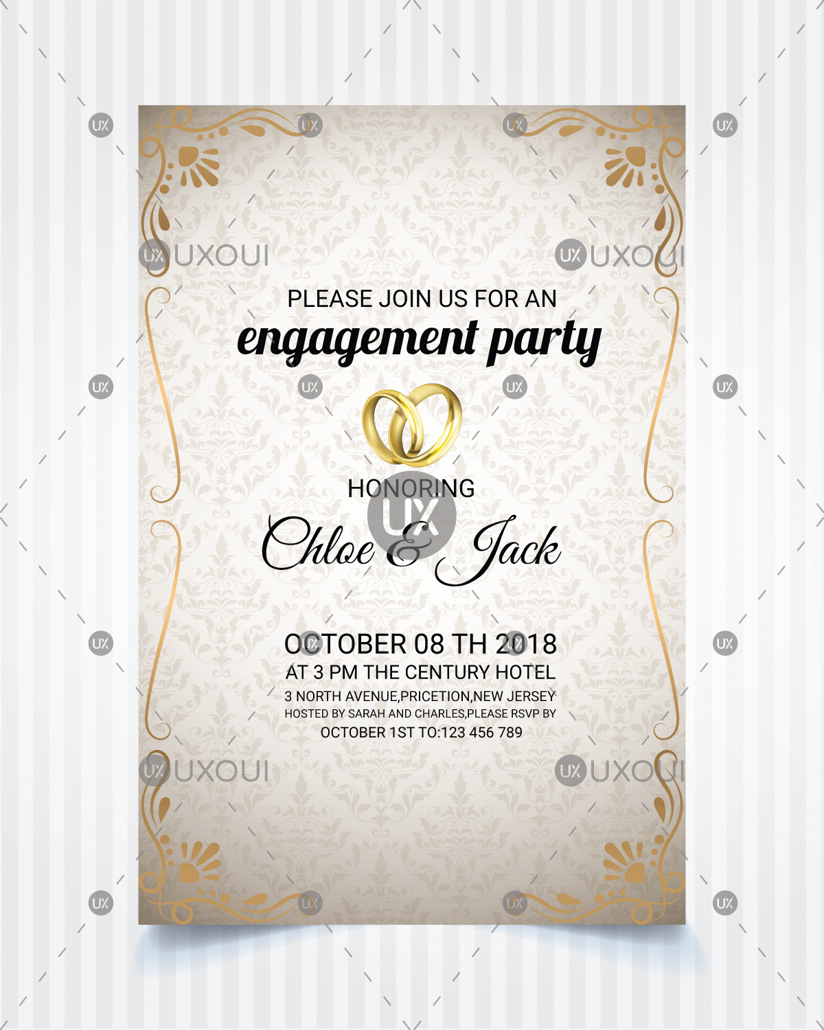 Vintage style wedding engagement party invitation card template design  vector | UXoUI