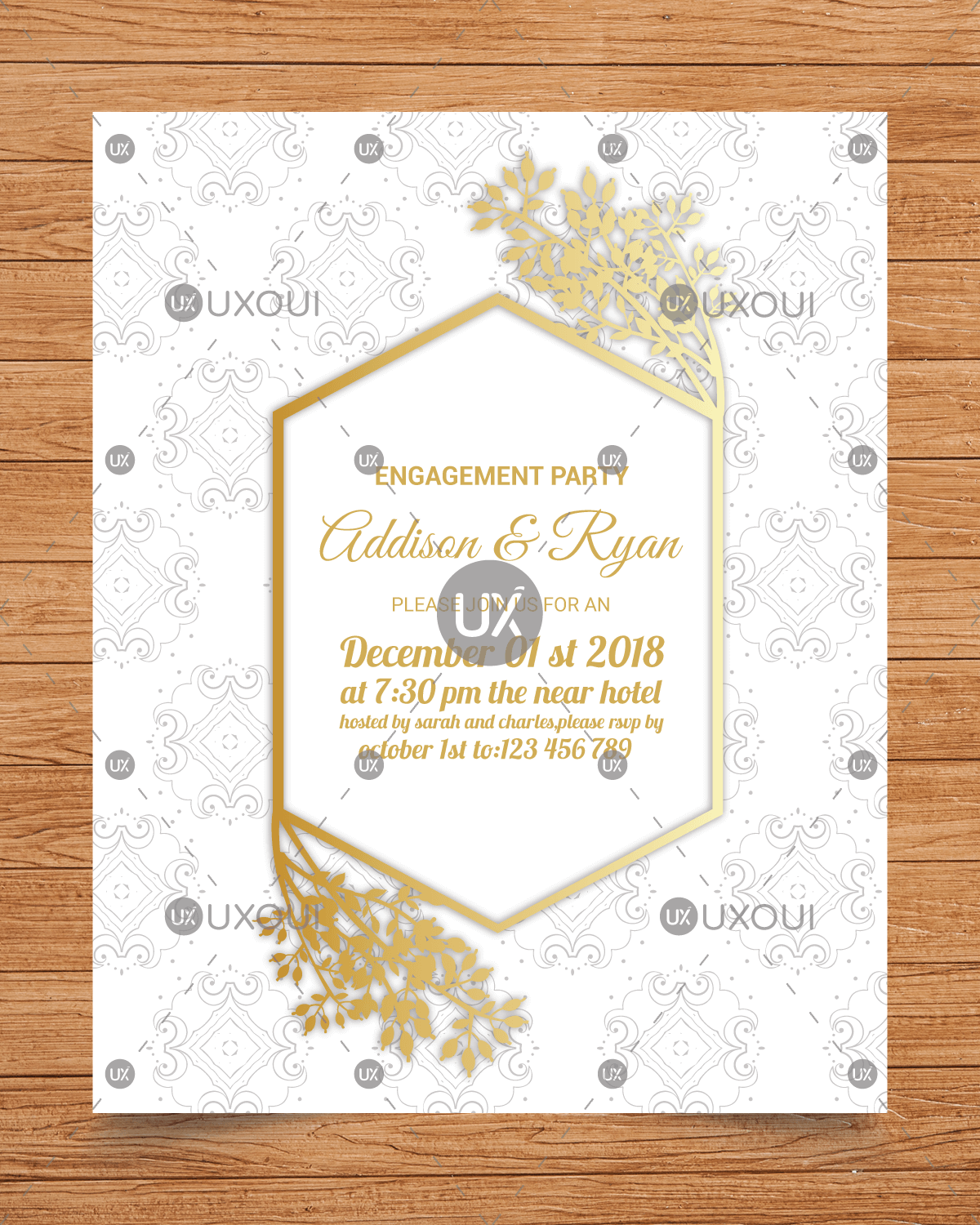 Wedding Engagement Party Invitation Card Template Design Vector With Flowers